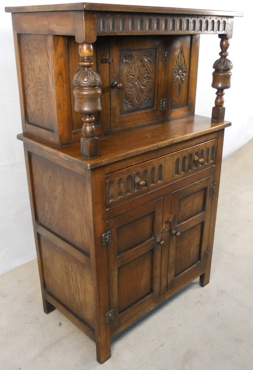 Antique Jacobean Style Small Oak Court Cupboard